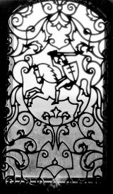Вітраж у вежы былога храма Кальвінскага Збора да пажара 1997 г. Заслаўе. 1982 г.